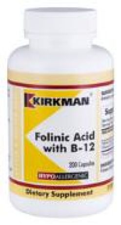 Kirkman`s Folinic Acid  with Vitamin B-12 Hypoallergenic 200 Capsules 3 box value pack