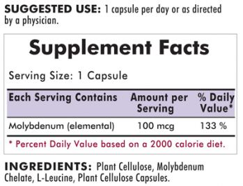 Kirkman`s Molybdenum 100 mcg 100 Capsules 3 box value pack
