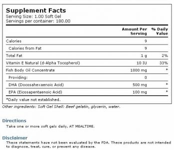 Carlson`s Super DHA 500 mg of DHA 180 softgels