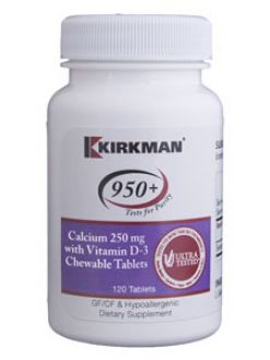 Kirkman 950+ Calcium with Vit D-3 250 mg 120 chews