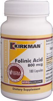 Kirkman, Folinic Acid 800 mg, 180 capsules, 3-pack
